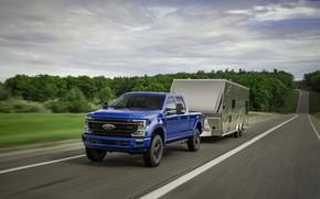 Картинка дорога, синий, Ford, пикап, Super Duty, F-250, Tremor, 2020, Off-Road Package, F-series