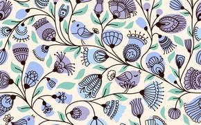 Картинка цветы, фон, flower, background, pattern, seamless, ПТИЧКИ