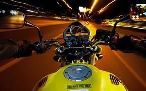 Картинка Speed, Night, Bike, Road