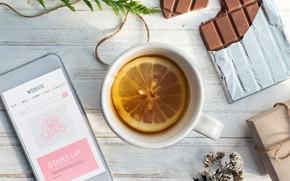 Картинка лимон, чай, шоколад, кружка, телефон