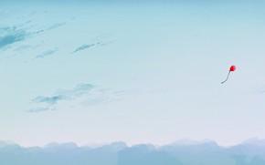 Картинка небо, воздушный шарик, парит