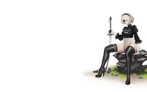 Картинка Девушка, Минимализм, Рисунок, Меч, Android, Арт, Nier, Illustration, Characters, Automata, Game Art, NieR, NieR: Automata, …