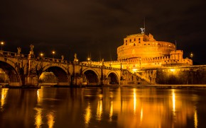 Картинка ночь, город, Рим, Италия