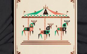 Картинка карусель, олени, оформление, илюстрация, Lagoon 2019 Holiday Card