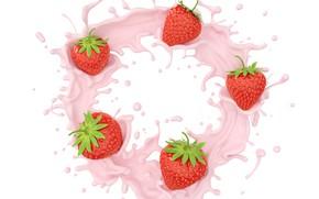Картинка белый, брызги, ягоды, фон, всплеск, клубника, йогурт