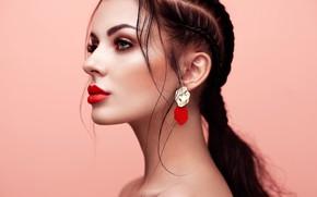 Картинка фон, модель, портрет, макияж, прическа, красотка, боке, голые плечи, Oleg Gekman