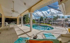 Картинка вилла, интерьер, бассейн, терраса, столовая