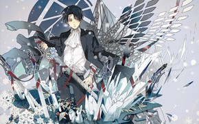 Картинка снежинки, крылья, эмблема, клинки, ножны, белая рубашка, Вторжение Гигантов, Леви Аккерман, Levi Ackerman, разведкорпус, Shingeki …