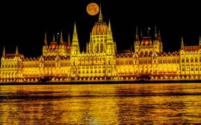 Картинка огни, Луна, Парламент, Венгрия, Будапешт