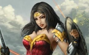 Картинка девушка, воин, арт, щит