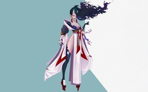 Картинка Girl, Fantasy, Art, Style, Background, Illustration, Minimalism, Mononoke, Character, Katya Cyan, Mononoke doll master, ART …