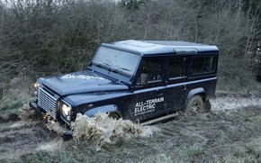 Картинка грязь, прототип, Land Rover, Defender, 2013, All-terrain Electric Research Vehicle
