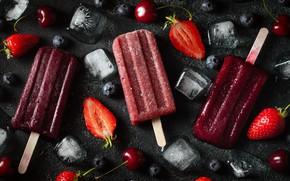 Картинка лед, вишня, кубики, клубника, мороженое, ягодное