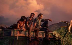 Картинка девушки, вечер, мужчина, трое, персонажи, Uncharted: The Lost Legacy