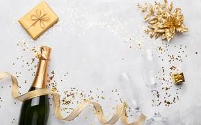 Картинка день рождения, подарок, шампанское, композиция