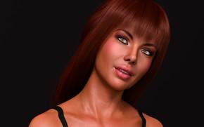 Картинка девушка, портрет, рыжая