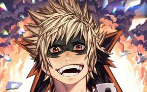 Картинка улыбка, аниме, маска, арт, парень, Boku no Hero Academia, Катсуки Бакуго