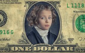 Картинка портрет, девочка, купюра, Just one little dollar