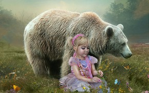 Картинка бабочки, цветы, медведь, луг, девочка