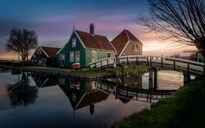 Картинка огни, дом, вечер, флаг, канал, Нидерланды