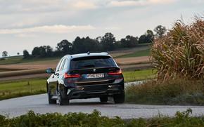Картинка чёрный, поворот, BMW, 3-series, универсал, корма, 3er, 2020, 2019, G21, M340i xDrive Touring