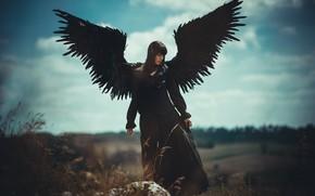 Картинка небо, девушка, облака, поза, женщина, одежда, камень, высота, крылья, ангел, перья, фигура, брюнетка, черная, черное …