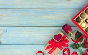 Картинка подарок, шоколад, розы, конфеты, сердечки, красные, red, love, wood, flowers, romantic, hearts, chocolate, valentine's day, ...