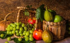 Картинка яблоки, виноград, фрукты, натюрморт, груши, flowers, autumn, fruit, grapes, still life