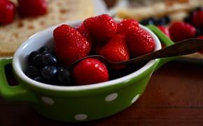 Картинка ягоды, еда, черника, клубника, ложка, миска