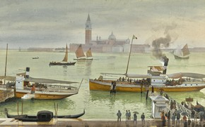 Картинка Albert Nikolaevich Benois, VIEW OF VENICE FROM, watercolour over pencil heightened with white, THE RIVA …
