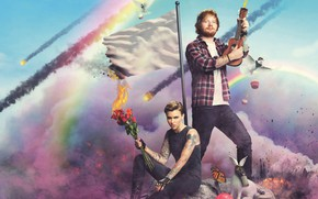 Картинка облака, розы, радуга, букет, кролик, флаг, противогаз, Ruby Rose, Руби Роуз, Эд Ширан, Ed Sheeran