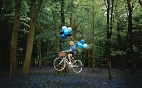 Картинка девушка, велосипед, полёт