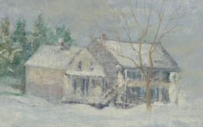 Картинка зима, пейзаж, картина, Джон Генри Твахтман, John Henry Twachtman, Brush House. Cos Cob