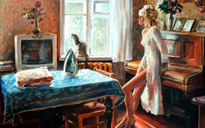 Картинка девушка, стол, комната, картина, фортепиано, утюг, Июньским утром, Настасья Чудакова