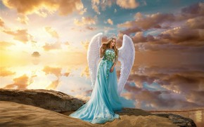 Обои девушка, фентези, ангел