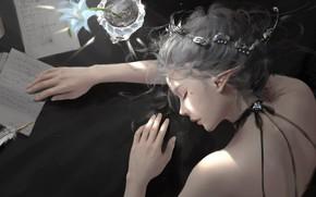 Картинка girl, fantasy, flower, mood, face, letter, elf, digital art, artwork, princess, fantasy art, pen, sleeping, …