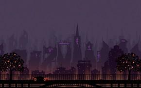 Картинка Авто, Минимализм, Музыка, Город, Машина, Стиль, Фон, City, Car, Fantasy, Арт, Art, Style, Neon, Background, …