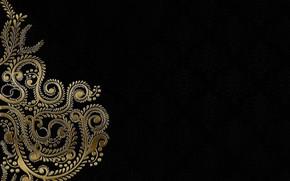 Картинка фон, золото, узор, черный, орнамент