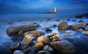 Картинка море, туман, камни, маяк, sea, lighthouse, mist, Ray Bilcliff