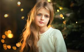 Картинка взгляд, девочка, Новый год, боке, Olga Boyko
