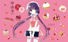 Картинка чулки, клубника, сладости, перчатки, пончики, официантка, косынка, розовый фон, меню, черешня, два хвостика, передник, пироженные, …
