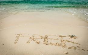 Картинка песок, море, волны, пляж, лето, summer, beach, sea, blue, seascape, sand, wave, free