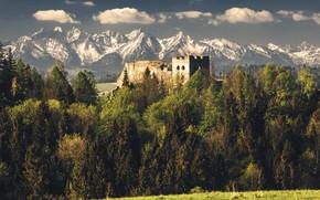 Картинка пейзаж, горы, Czorsztyn Castle