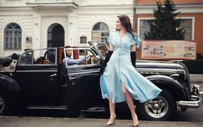 Картинка машина, авто, девушка, стиль, ретро, платье, перчатки, парень, Дмитрий Воробей