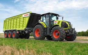 Картинка дорога, трактор, прицеп, Claas Axion 850