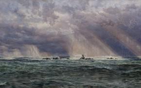 Картинка 1873, Джон Бретт, Шторм в море с маяком