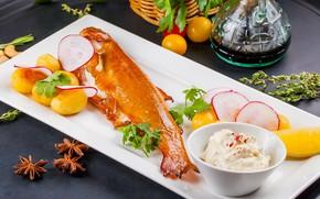 Картинка рыба, соус, картофель, форель