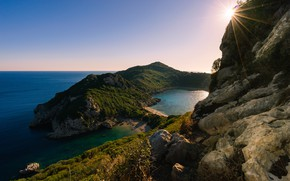 Картинка море, солнце, побережье, утро, Греция, Korfu