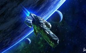 Картинка космос, фантастика, планеты, корабль, арт, space, art, Sci-Fi