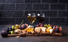 Картинка сыр, вино, виноград, инжир